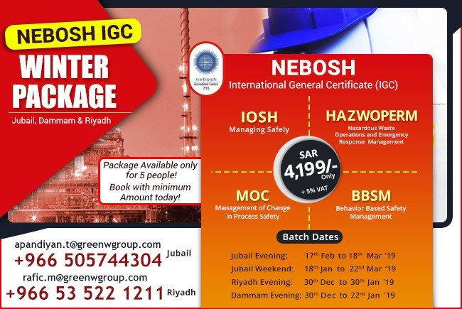 Nebosh Training Course in Riyadh- Green World Group